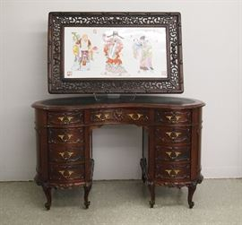 1920's mahogany carved kidney shaped desk and Chinese porcelain panel