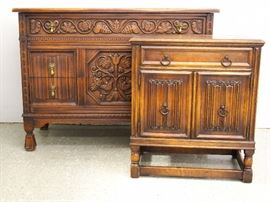 Carved oak chest and commode
