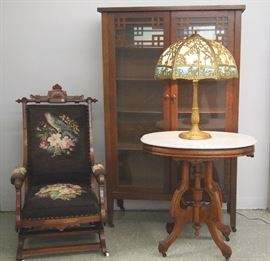 Oak Arts & Crafts china cabinet, walnut rocker, m/t parlor table and lamp
