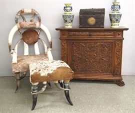 Carved Italian commode, early leather trunk, horn chair and footstool, Pr. of Chinese vases