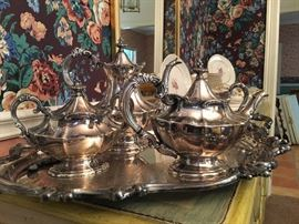 "Reed and Barton ""Victorian"" 5 pc. Silverplate Coffee Service Set,  as is."