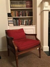 SWEET VINTAGE CLUB CHAIR w/ rattan all in fine condition.