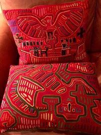 Pair of Mola textile pillows