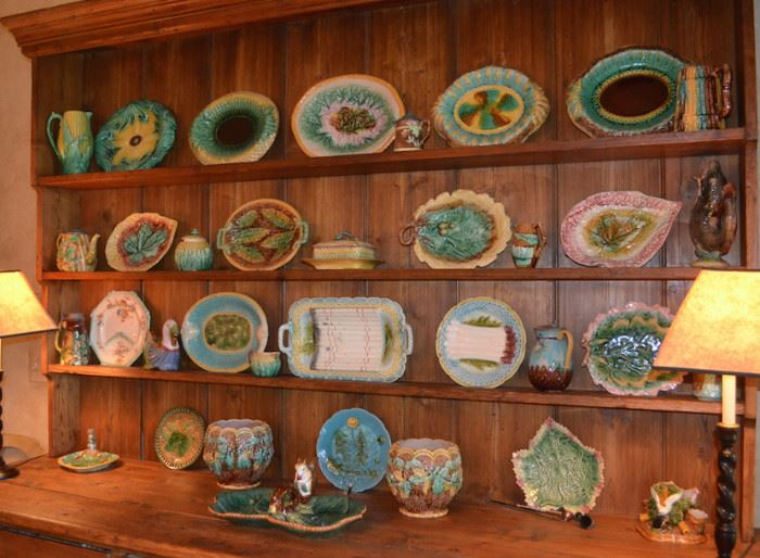 Impressive collection of antique majolica (cupboard is not for sale)