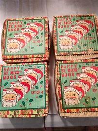 4 sets of vintage Christmas Santa mugs