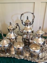 Antique silverplate tea service