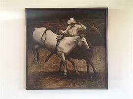 Original framed painting, acrylic on canvas by Dallas, TX artist Carol Glitsch-Burnett from 1977 (47 ins x 47 ins)