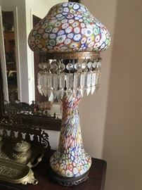 Italian Toso Millefiori  art glass lamp