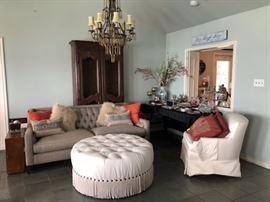 Like New Sofa, crystal, upholstered ottoman.