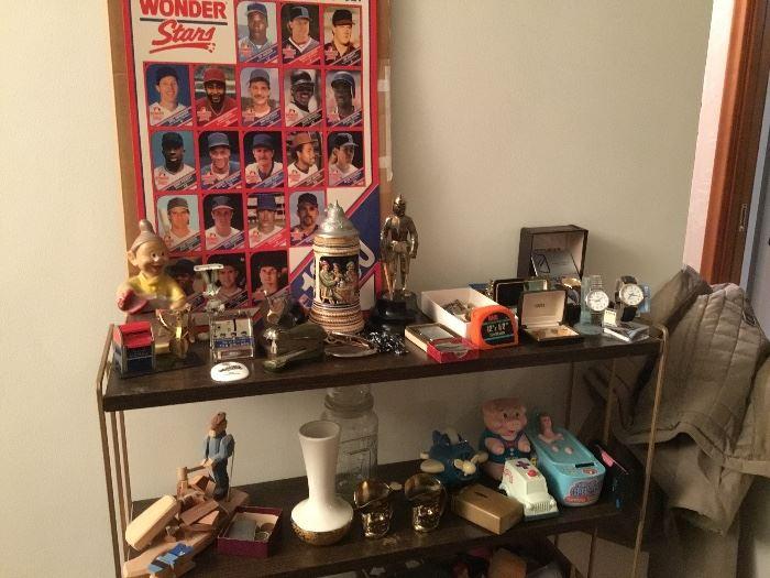 Miscellaneous vintage toys, men's cufflinks, beer steins,