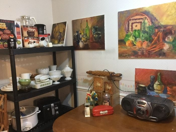 Vintage 50's rooster nesting boxes, retro kitchenware, more original art