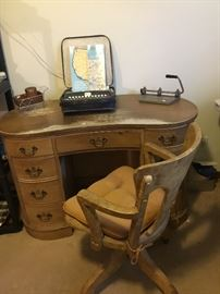 Vintage Desk w/ matching chair on metal wheels