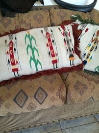 Mexican Vintage wool blanket pillows- 2 sides