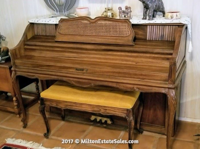 Vintage kimball Upright piano with Matching Bench