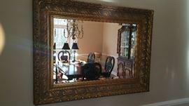 Large framed mirror.
