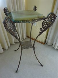 French Bronze and Brass Marble Top Plant Stand