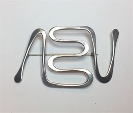 Beautiful STERLING Mid Century Brooch by Ed Weiner