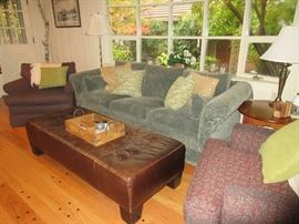 Great sofa and lounge chairs. (leather ottoman not for sale)