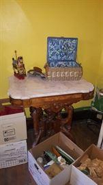 Anique Marble Top Table & Misc