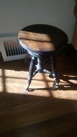 Antique Stool Adjustable with glass ball feet