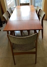 Denmark teak extension table and six teak chairs