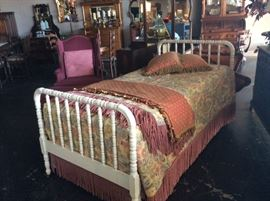 EXQUISITE  Corona  Decor Co. Tapestry Twin Bedding (Seattle, WA) and a chalk painted white wooden twin bed.