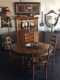 Oak Table and Gorgeous Buffet with Mirror