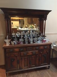 Wonderful Scottish sideboard with a rare collection of antique glass baskets.