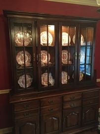 Great double China cabinet filled with antique pink transfer ware.