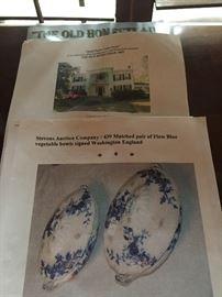 Two wonderful covered flo blue vegetable dished purchased at auction of The Old Homestead in Aberdeen, MS