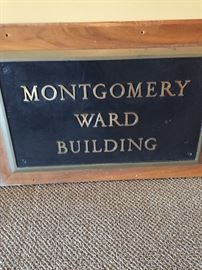 """Authentic Montgomery Ward building sign. Measures about 36"""" wide, 24"""" high. Very heavy. Bring strong helpers to carry for you!"""