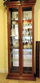 Glass and Wood Tall Curio Cabinet