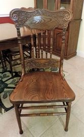 Wooden Pressed Back Oak Dining Chairs