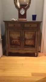 Painted two drawer, two door hall chest, excellent condition.  Made by Hooker Seven Seas Collection.   Beautiful detail