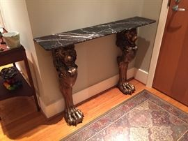 Lions with marble top, entrance table