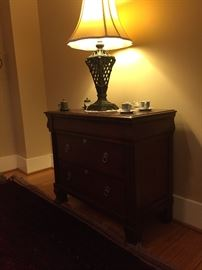 Ethan Allen Side board, with drawers.  Metal base lamp