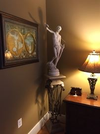 Statue of David and metal and resin pedestal stand, sold separately