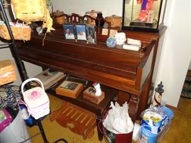 STARCK SIGNED 1930'S MAHOGANY PIANO.  WORKS WELL ALL KEYS AND RECENTLY TUNED
