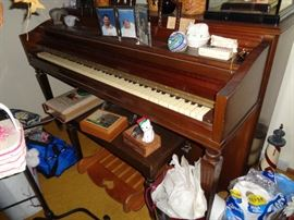 CLOSE UP VIEW OF SIGNED STARCK CIRCA 1930'S MAHOGANY PIANO WITH ALL WORKING KEYS AND RECENTLY TUNED
