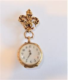"""14kt Gold Ladies Pendant watch. Inscribed: Dec. 25th 1899 . Makers Mark is """"AW"""". Absolutely Elegant in every perfect detail."""