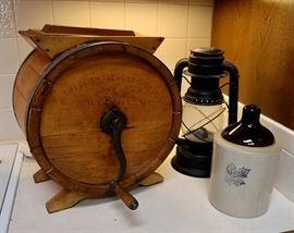 Antique Wood Barrel Butter Churn - Crock Jug & Lantern
