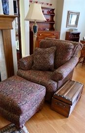 Nice Upholstered Arm Chair, Ottoman, Floor Lamp & Small Antique Trunk