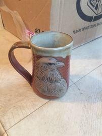 Pottery eagle mug