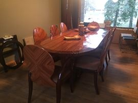 Beautiful modern dining room set  table 8 chairs buffet mirror and bookcase to match $1,000 set *BUY IT NOW*