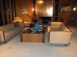 MID CENTURY SOFAS AND COFFEE TABLE
