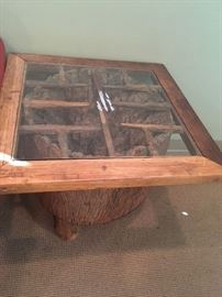 •Antique carved driftwood side table Hinoki Style