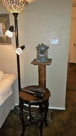 contemporary floor lamp, pedestal plant stand, vintage side table, monocular with case and the fabulous mast light