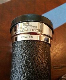 detail of tag on monocular - Tower Model 6320