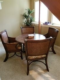 Game table w/ rattan chairs