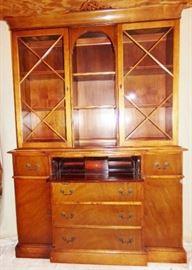 Saginaw Furniture Shops Inc Saginaw. MI Mahogany Breakfront Secretary  78Hx15Dx54W